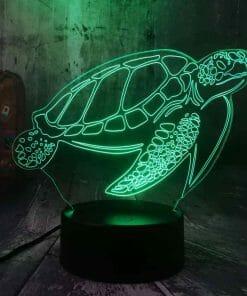 Lampe 3D Tortue de Mer Tactile Verte