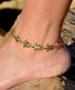 bracelet cheville aux multiples tortues plage