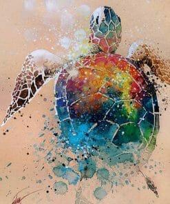 coloriage tortue reve multicolore en peinture diamant