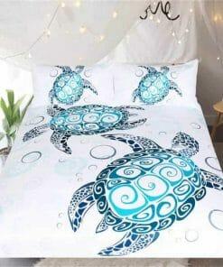 parure de lit tortue au tatouage maori - housse de couette et 2 taies d'oreiller