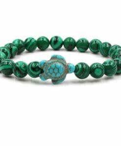 bracelet tortue perles marbrées couleur algue